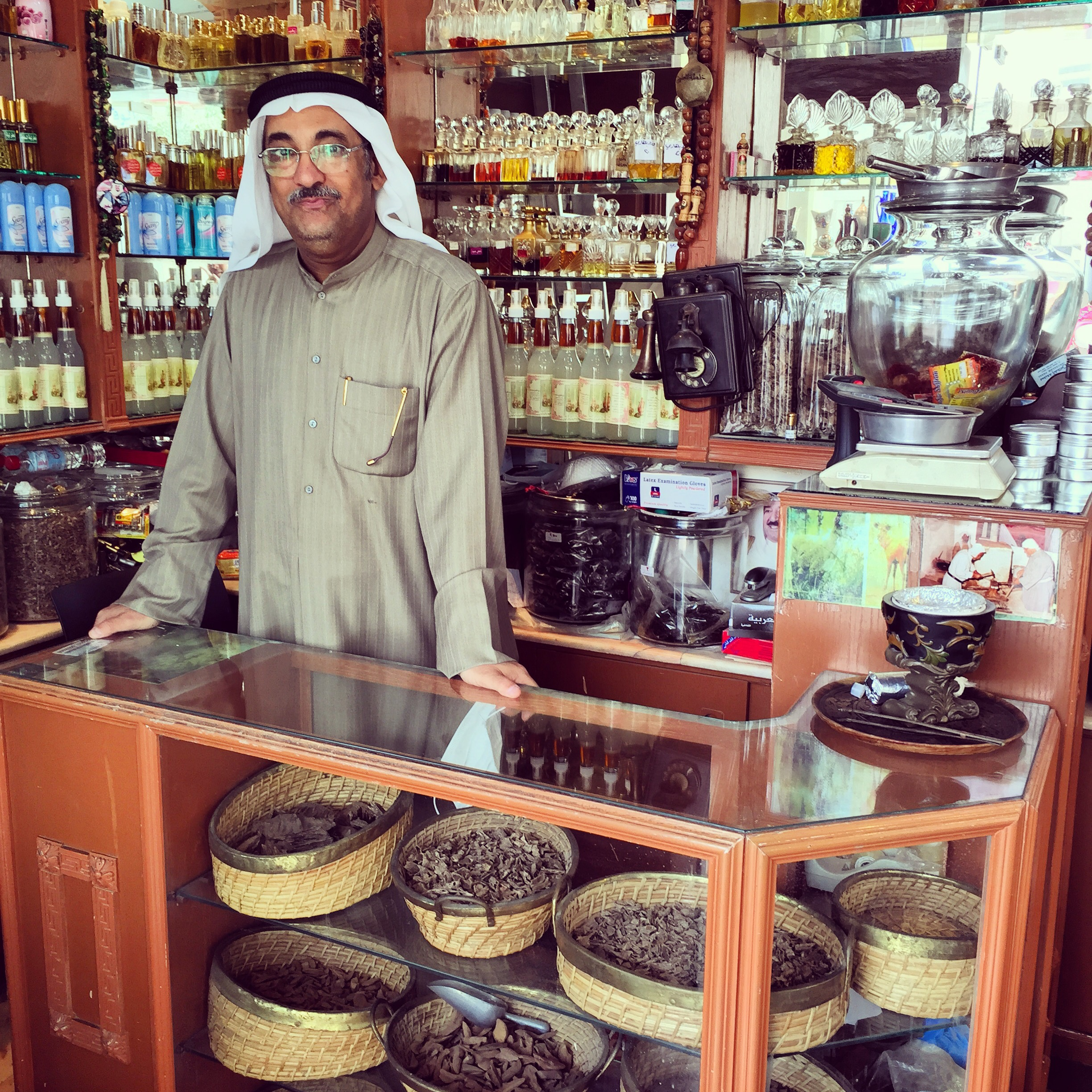 Essences vendor at Kuwait market