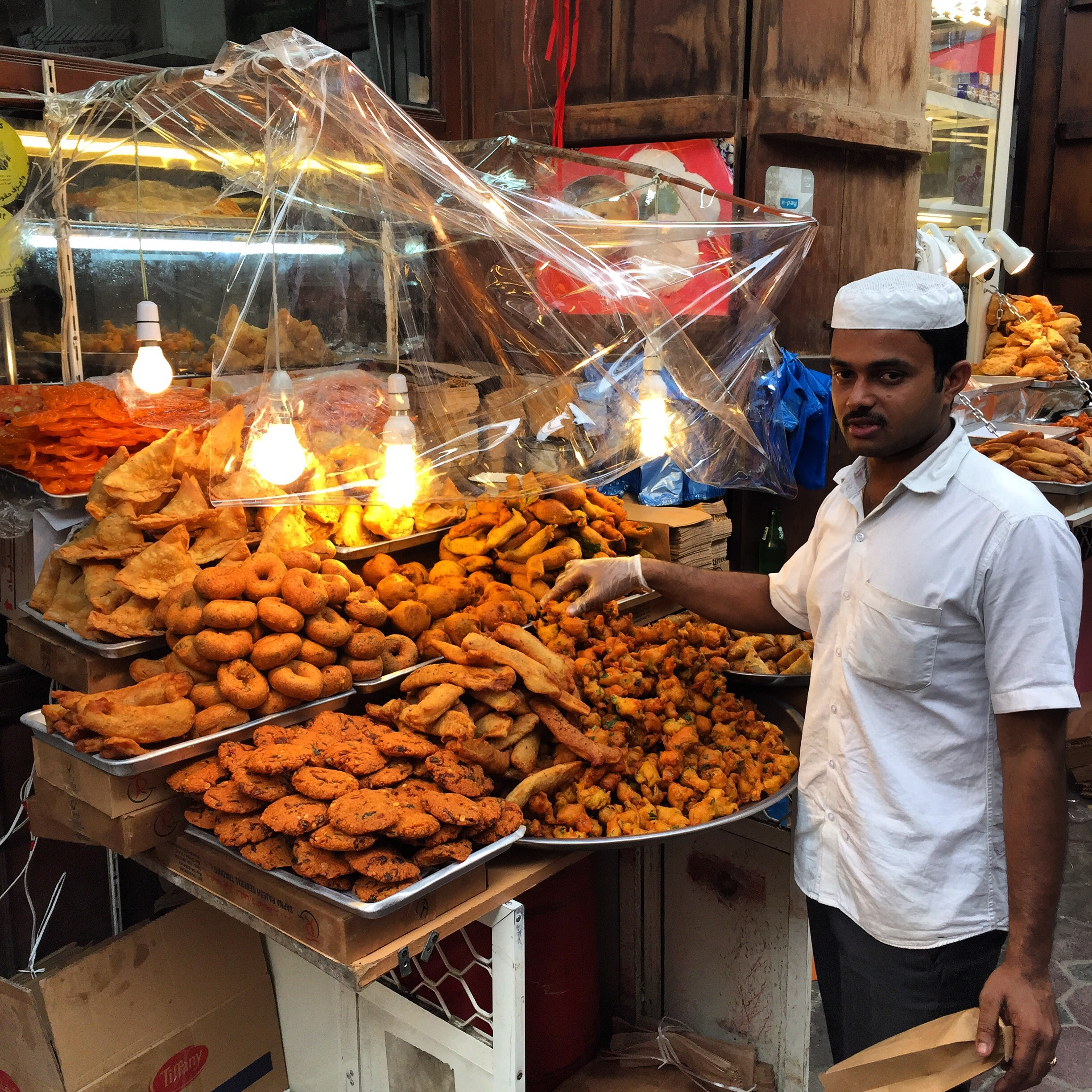 Samosa vendor in Dubai traditional market