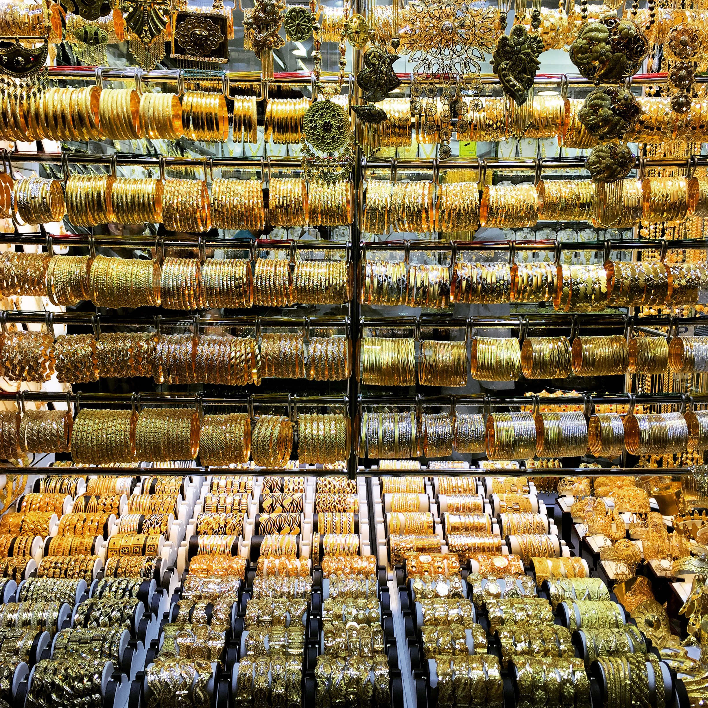 Gold bracelets at Dubai gold souk