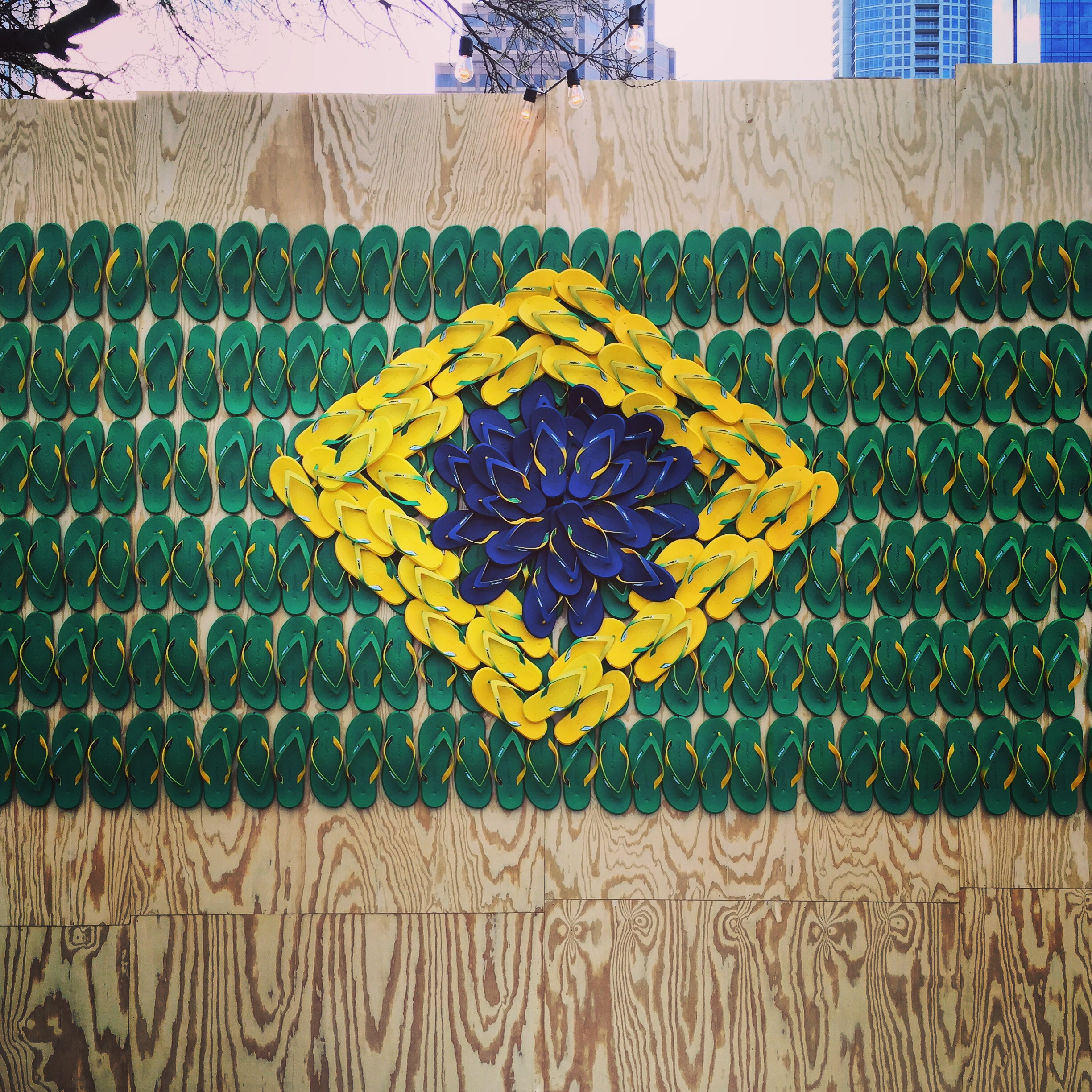 Brazilian flag made out of sandals