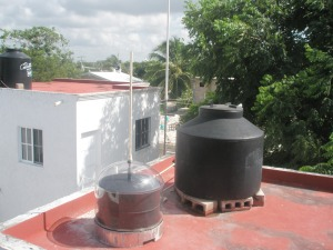 One of the initial versions of the solar water heater Grynboiler in a field test